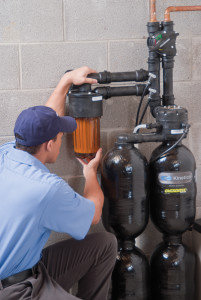 Service Technician Inspecting Water Softener